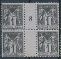 N°83 BLOC DE 4  MILLESIME NEUF ** - 1876-1898 Sage (Tipo II)