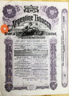 ARGENTINE TOBACCO C° Limited   100 Preference Shares Of  1£ Each 12 April 1912 - Actions & Titres