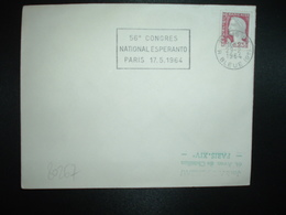 LETTRE TP FRANCE M. DE DECARIS 0,25 OBL.MEC.29-2 1964 PARIS 83 56e CONGRES NATIONAL ESPERANTO PARIS 17.5.1964 - Esperanto