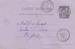Vittel , Vosges ,boite Rurale D De Monthureux Le Sec Sur Entier Postal Sage De 1886 - Postmark Collection (Covers)