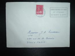 LETTRE TP FRANCE M. DE BEQUET 0,50 OBL.MEC.31-3 1974 ST ETIENNE FAURIEL LOIRE CONGRES NATIONAL ESPERANTO ST ETIENNE 30 M - Esperanto