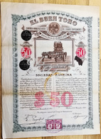 EL BUEN TONO  Compania Manufacturera Del Cigarro Sin Pegamento  MEXICO Share 50 Pesos  N° 123969 From 150000 25 Nov 1912 - Actions & Titres