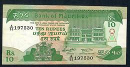 MAURITIUS P35b 10 RUPEES 1985 # A/55     AU - Mauritius
