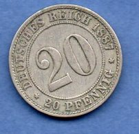 Allemagne  - 20 Pfennig 1887 D  - Km # 9.1  -  état  TTB - [ 2] 1871-1918 : German Empire