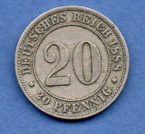 Allemagne  - 20 Pfennig 1888 F  - Km # 9.1  -  état  TTB - [ 2] 1871-1918 : German Empire