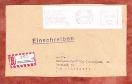 Einschreiben Reco, Paeckchenadresse, Absenderfreistempel, Volksbank Schramberg, 450 Pfg, 1985 (69291) - BRD