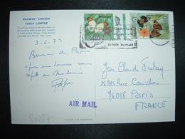 CP Datée 3-6-73 Pour La FRANCE TP PAPILLON 30c + TP 10c OBL.MEC. - Malaysia (1964-...)