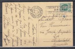 Postkaart Van Antwerpen 6 Naar Anderlecht Gebruikt De Postzegels Orval - 1922-1927 Houyoux