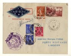 Air Bleu Liaison Perpignan-Limoges Aéro-club Du Roussillon. Signature Du Pilote Dericourt Aviation. Semeuse Mercure - Avions