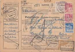 Bauten Paketkarte Mif Minr.82eg,89eg,2x 96wg Eschwege 24.3.51 Gel. Nach Belgien - Bizone