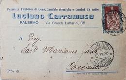 1928 Cartoncino Da Palermo Per Caccamo Con E. Filiperto Da 30c. 023 - 1900-44 Vittorio Emanuele III