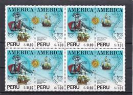 Peru Nº 991 Al 992 En Bloque De Cuatro - Perú