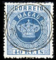 !■■■■■ds■■ Macao 1884 AF#05dø Crown 40 Réis Light Blue 13,5 (x12334) - Unused Stamps
