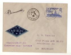 Air Bleu Liaison Aérienne Limoges-Le Bourget Inauguration Courrier Sans Surtaxe Aviation. Timbre Croiseur Clémenceau - Avions
