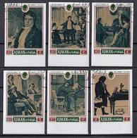Ajman 1971 Mi. 794/799 Immagini Della Vita Di Ludwig Van Beethoven  Compositore  CTO Imperf. Full Set - Ajman