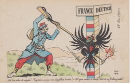 """CPA France - Deutsch """"Ah! Ton Sabre Est Aiguisé!... Pige Donc Un Peu Mon Aiguille à Tricoter!"""" - Patriotic"""