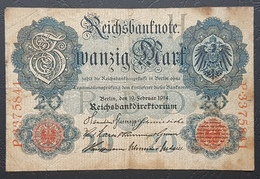 EBN12 - Germany 1914 WWI Banknote 20 Mark Pick 46b Serial 7 Digits - [ 2] 1871-1918 : Duitse Rijk