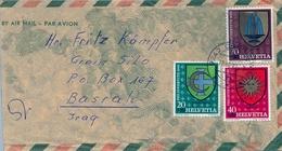 1961 , SUIZA , SOBRE CIRCULADO , OBERUZWIL - BASRAH  ( IRAQ ) - Suisse