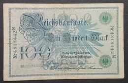 EBN12 - Germany 1908 Banknote 100 Reichsmark Pick #34 Green Seal #Nr4818442M - [ 2] 1871-1918 : Duitse Rijk