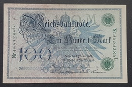 EBN12 - Germany 1908 Banknote 100 Reichsmark Pick #34 Green Seal #Nr4818442M - [ 2] 1871-1918 : German Empire