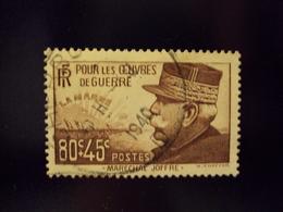 """1940  Timbre Oblitéré N° 454    """"maréchal Joffre  50+45c Brun       """"     Net 1.50 - Oblitérés"""