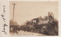 Vintage 1907 Real Photo - Hawkesbury Ontario Railway Station - Animated - VG Condition - 2 Scans - Ontario