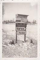 Foto Wegweiser Strassenschilder Narwa Pleskau - Estland Russland - 2. WK - 8*5,5cm (39125) - War, Military