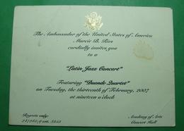 2007 Albania. US EMBASSY In Tirana. Invitation For Latin Jazz Concert - Albania