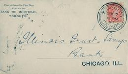1893 , CANADÁ , SOBRE CIRCULADO , TORONTO - CHICAGO , BANK OF MONTREAL - Briefe U. Dokumente