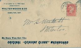 1893 , CANADÁ , SOBRE CIRCULADO , HAMILTON - WATERLOO, ILUSTRADO , LLEGADA AL DORSO - Briefe U. Dokumente