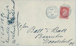 1890 , CANADÁ , SOBRE CIRCULADO , ST. CATHARINES - WOODSTOCK , LLEGADA AL DORSO - Briefe U. Dokumente