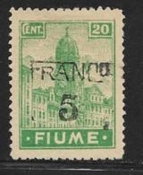Fiume, Scott # 58 Unused No Gum Clock Tower, Handstamped Surcharge, 1920 - 8. WW I Occupation