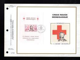 """"""" CROIX-ROUGE 1978 DE MONACO : H. DUNANT """" Sur Feuillet CEF Soie Nté à Tirage Limité (3000 Ex.). Parfait état. FDC - Henry Dunant"""