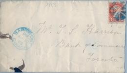 1883 , CANADÁ , SOBRE CIRCULADO , BARRIE - TORONTO , LLEGADA AL DORSO - Briefe U. Dokumente