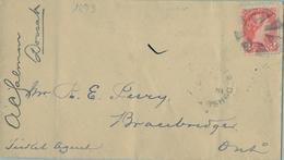 1893 , CANADÁ , SOBRE CIRCULADO , DORSET - BRACEBRIDGE , LLEGADA AL DORSO - Briefe U. Dokumente