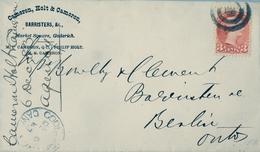 1887 , CANADÁ , SOBRE CIRCULADO , GODERICH - BERLIN , LLEGADA AL DORSO - Briefe U. Dokumente