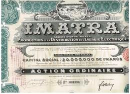 Action Ancienne - IMATRA - Société Anonyme Pour La Production Et La Distribution De L'Energie Electrique - Titre De 1912 - Electricité & Gaz