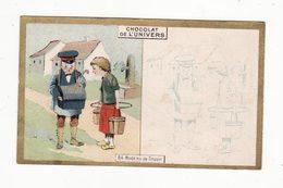 Chromo  CHOCOLAT DE L'UNIVERS    Femme Et Facteur   Postier     10.5 X 6.5 Cm - Schokolade