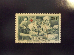 """1940  Timbre Oblitéré N° 459    """"  Croix Rouge Sauve 80+1f Vert     """"     Cote 7     Net   2.30 - Oblitérés"""