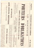 LE MONITEUR DES PORTEURS D'OBLIGATIONS Chemins De Fer, Mines, Industries, Fonds D'états Et Des Villes 1876 SUPPLEMENT - Journaux - Quotidiens