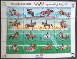 L21 - Libya 1984 Mi. 1411-1426 MNH Complete Set 16v. In One Sheet - Phila Korea, Horses, Riding, Equestrians - Libië
