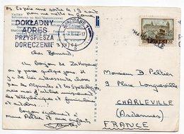 """1962--Griffe Horizontale Ou Linéaire """"CHARLEVILLE"""" Sur Tp Polonais Sur Cpsm  TATRY ( Pologne)--cachet  ZAKOPANE - Marcophilie (Lettres)"""