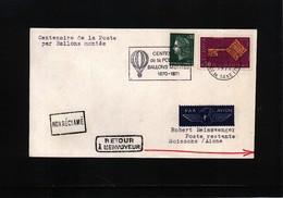 France / Frankreich 1971 Centenaire De La Poste Par Ballons Montes - Lettres & Documents