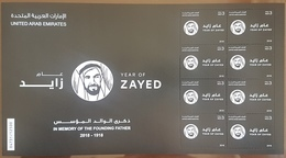 UAE 2018 NEW MNH Stamp Year Of Zayed - Complete Sheet - United Arab Emirates