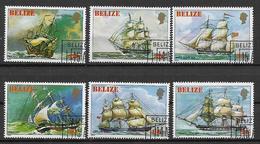 BELIZE   1982 QUADRI DI VECCHI VELIERI INGLESI YVERT. 574-579 USATA VF - Belize (1973-...)