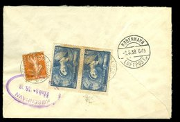 Francia 1938  Storia Postale Raccomandata Per Copenhagen Con Coppia Champenoise 1.75 E Semeuse 25c - Francia