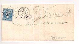 """AUTUN  : Lettre De 1864 : Boite Rurale M  """" Couche """"  ( Identifiée ) : Saône Et Loire : - Marcophilie (Lettres)"""