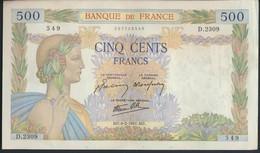 °°° FRANCE - 500 FRANCS 6/2/1941 °°° - 1871-1952 Gedurende De XXste In Omloop