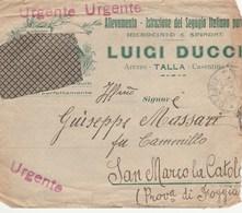 8314 Eb.   Busta  Luigi Ducci Allevamento Segugio Spinone Da Talla Arezzo Per S. Marco La Catola  Foggia 1917 - Vieux Papiers