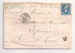 """AUTUN  : Lettre De 1866 : Boite Rurale J  """" La Comaille - Croix Jean Naudin """"  ( Identifiée ) : Saône Et Loire : - Marcophilie (Lettres)"""